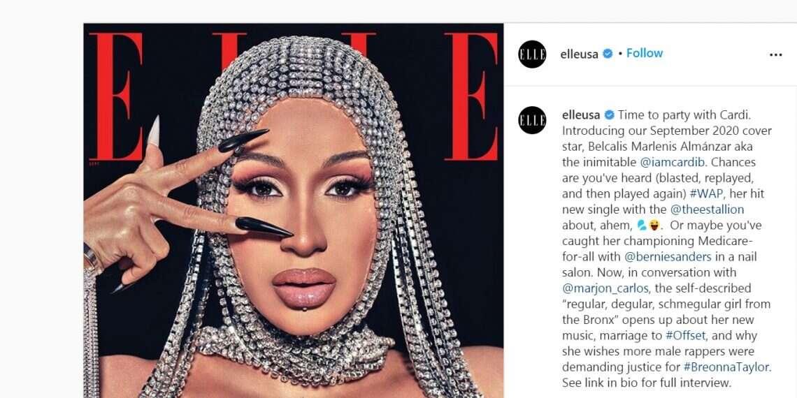 Cardi B porte un designer israélien sur la couverture de septembre de `` Elle ''
